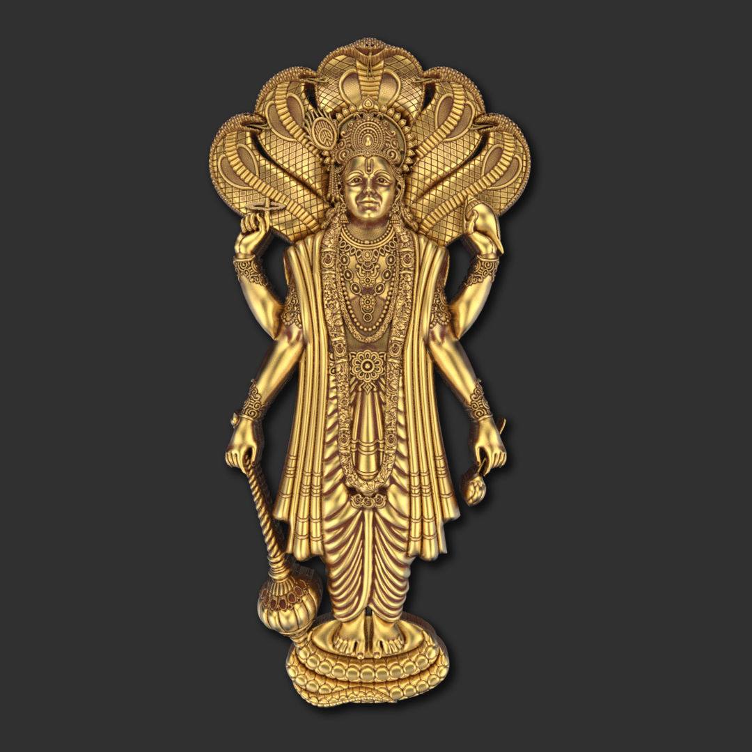 Lord Vishnu With Sheshnaga 01 3D Model
