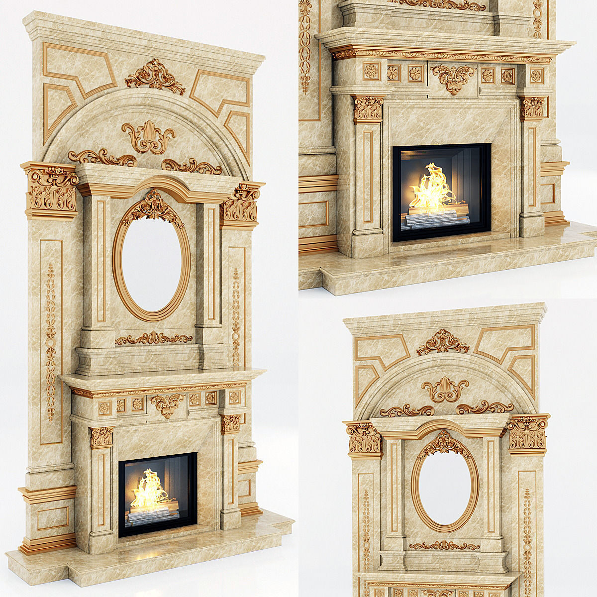 classical marble fireplace 6 3D   CGTrader