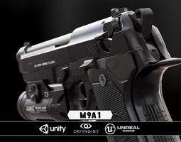 m9a1 black and chrome plus flashlight - model and textures game-ready
