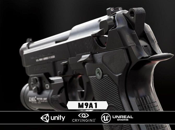m9a1 black and chrome plus flashlight - model and textures 3d model low-poly obj fbx tga 1