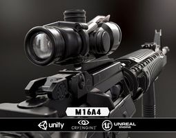 m16a4 and acog scope  - model and textures realtime
