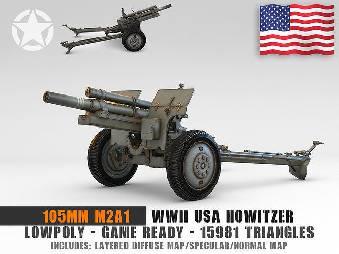 Low Poly 105 mm M2A1 howitzer