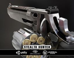 stealthhunter revolver - model and textures 3d asset low-poly