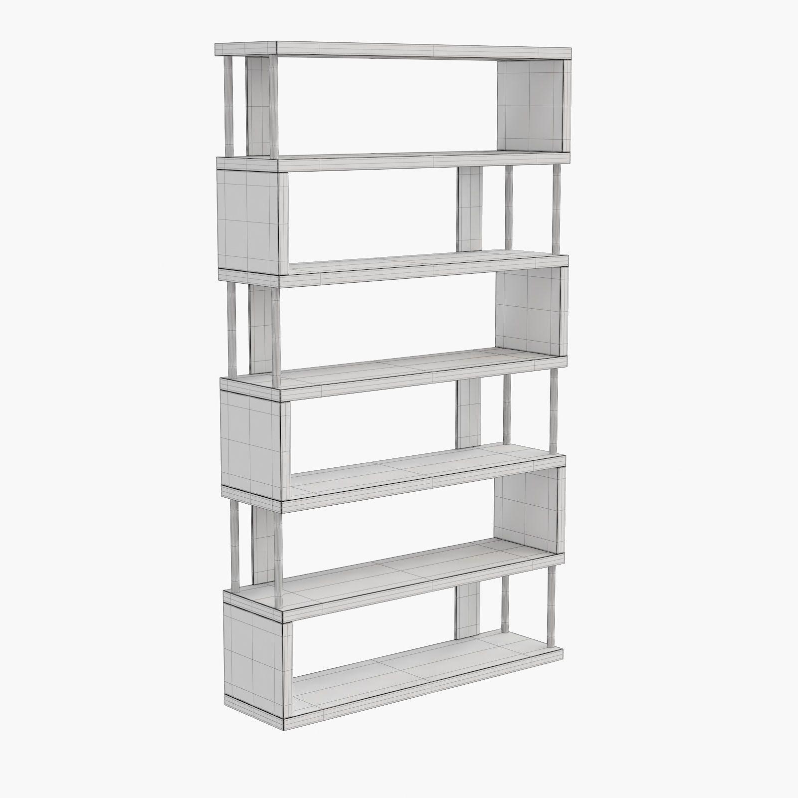 barnes white six shelf modern bookcase 3d model cgtrader