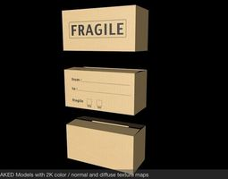 3D asset 3 Cardboard Boxes Plain Fragile and Move