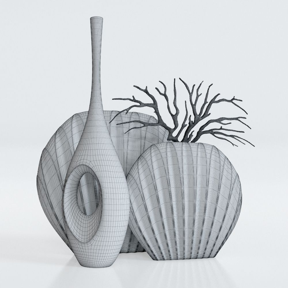 white vase set  white vases small bud vase modern minimal  - whitevasessetwithacoraldmodelmax white vases set