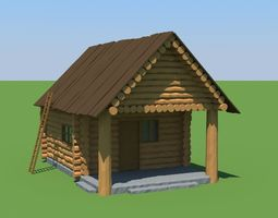 wood house low-poly 3d asset