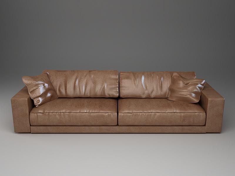 ... Photorealistic Long Leather Sofa 3d Model Max Obj 3ds Mtl 3 ...