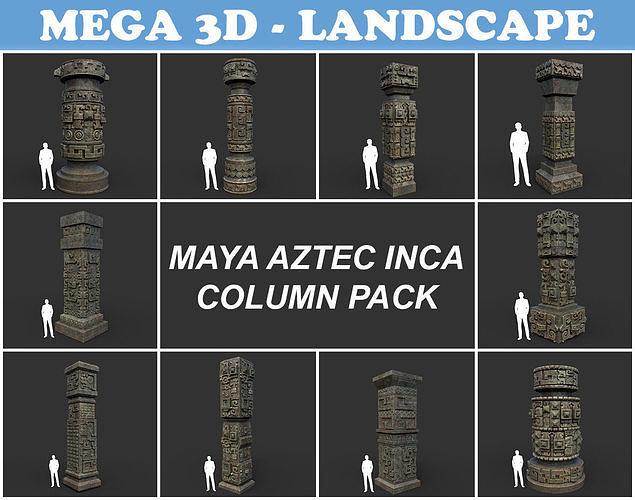 Low poly Mayan Inca Aztec Column Modular Pack Mossy 210616