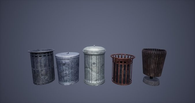 Dustbin Set Low Poly Game Ready