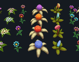 3D asset Hand-Painted Plant Pack
