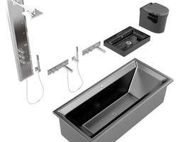 3d model modern black bathroom set
