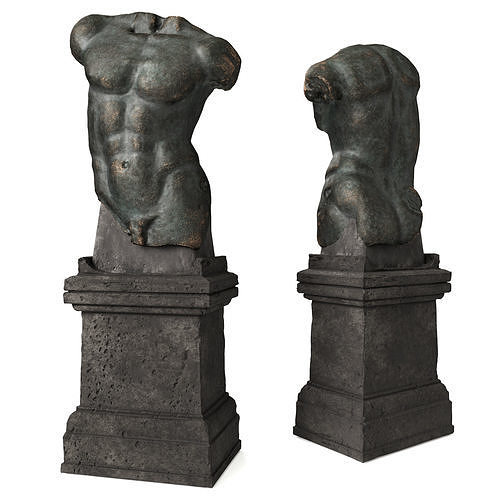 Roman man torso with pedestal