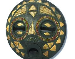 Traditional Round African Art Mask 3D