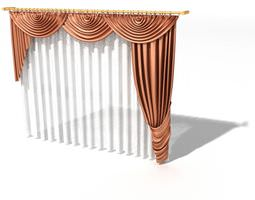 3d model pink  colored curtains