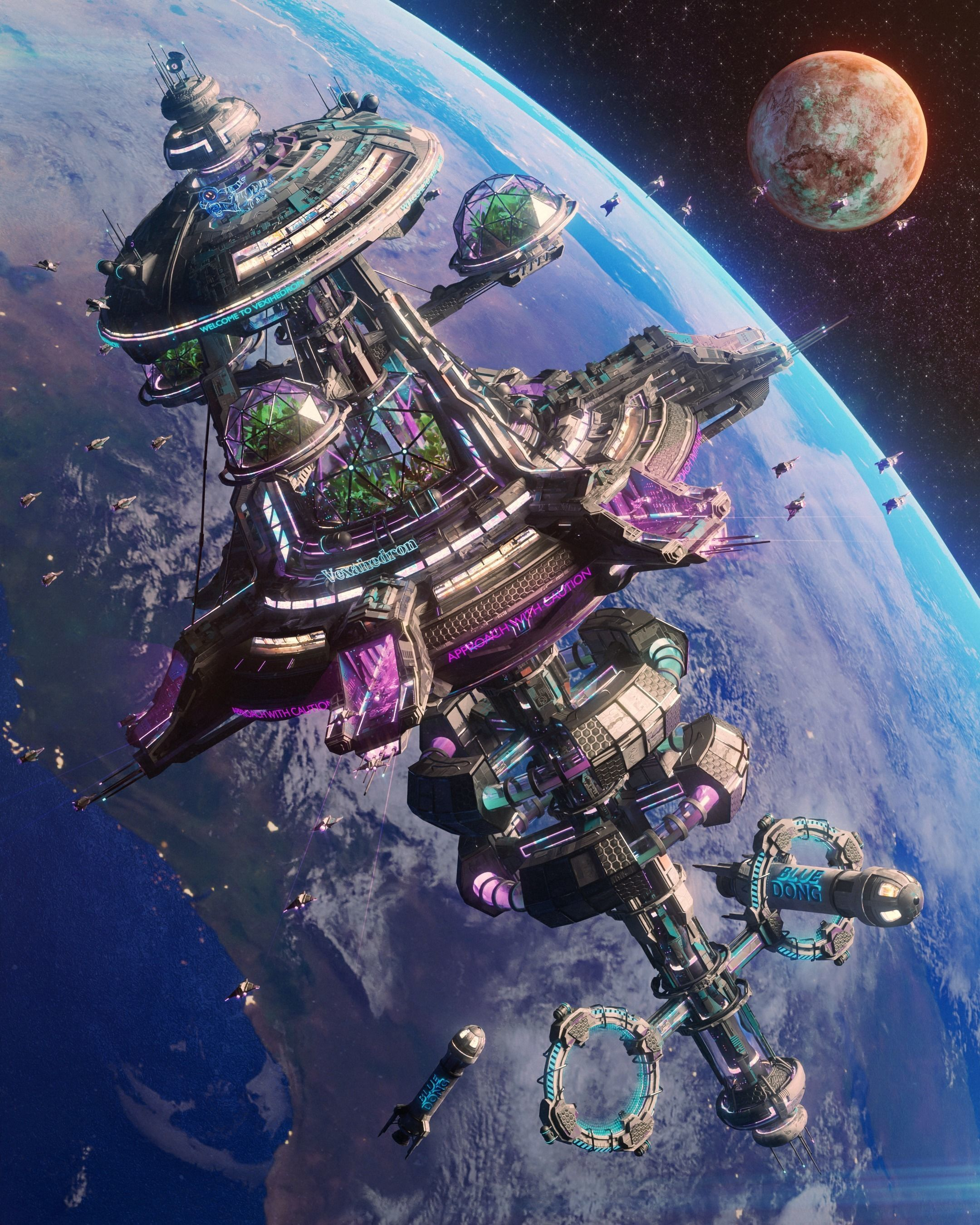 SpaceShip Diner with Docking for Spaceships by Bezos - 3D Weekly