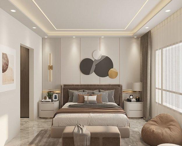 Modern bedroom interior full scene 3D model