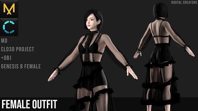 Dress Marvelous Designer Project 3D model