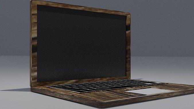 wood Laptop highpoly model