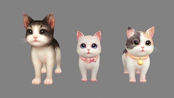 Cartoon three fat cats - pink female cat