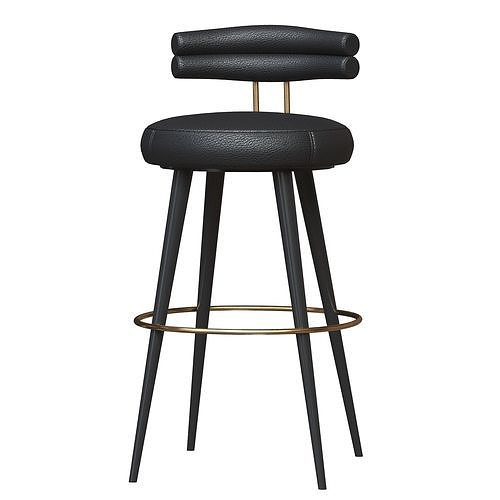 Betsy Bar chair leather metal material black color