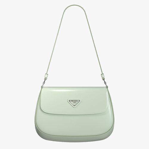 Prada Cleo brushed leather shoulder bag with flap Aqua