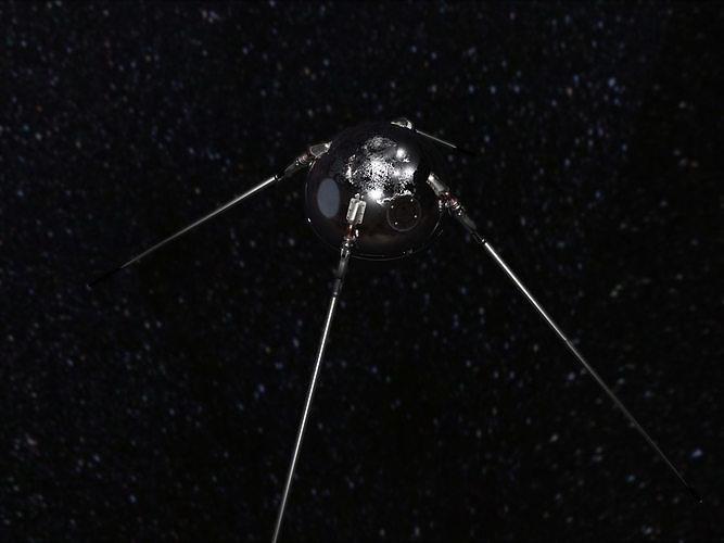 Sputnik 1 inspired artificial space satellite