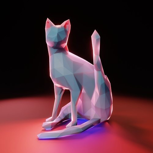 Yoga Cat Low Poly