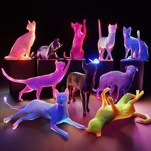 10 Cats Low Poly Pack