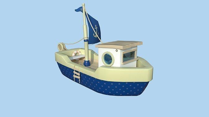 Cartoon Boat 06 - Dark Blue - Low Poly Ship