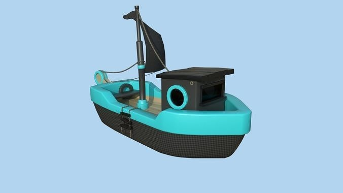 Cartoon Boat 07 - Black Blue - Low Poly Ship