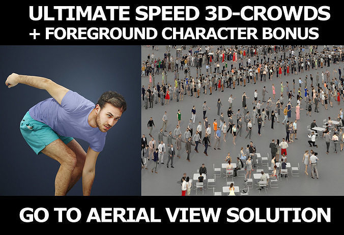 3d people crowds and a foreground skateboard Flow sport man