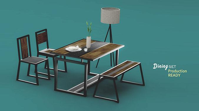 Interior dining set industrial design