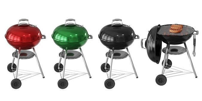 Portable Kettle BBQ Grill BLENDER 3D Model Cycles