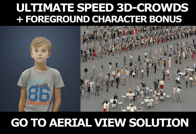 3d people crowds and a foreground Story kid casual boy