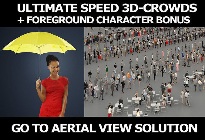 3d crowds and May a foreground umbrella elegant african woman
