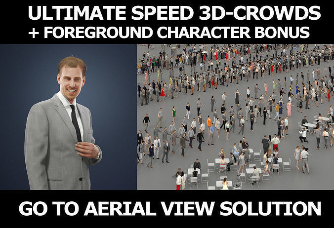 3d crowds and Mistery listening foreground business man