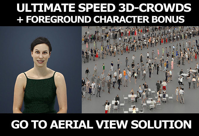 3d people crowds and Eternal foreground elegant sitting woman