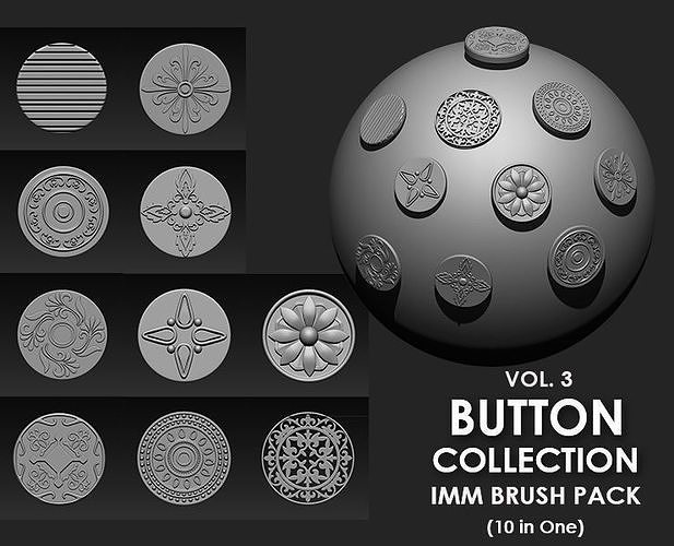 Buttons Collection IMM Brush Pack 10 in One VOL3