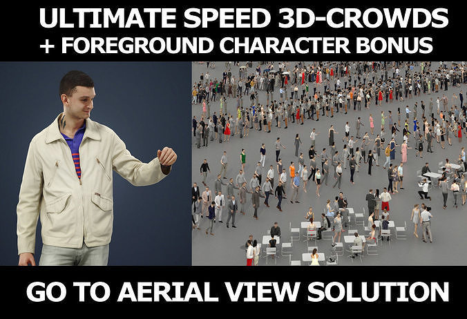 3d crowds and Lucky in a Jacket foreground casual man walking