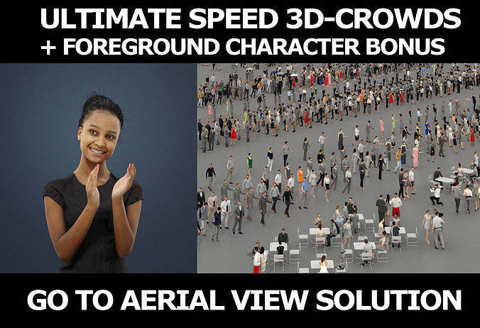 3d crowds and foreground May clap elegant sitting African woman