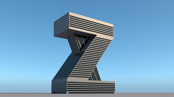 High-rise building skyscraper  letter Z 3D model