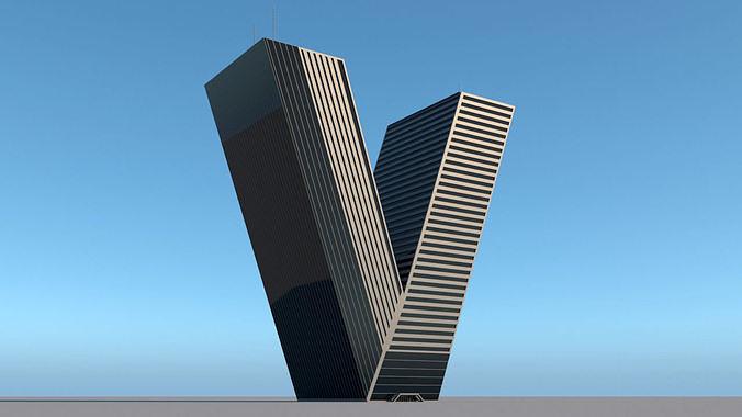 High-rise building skyscraper  letter V 3D model