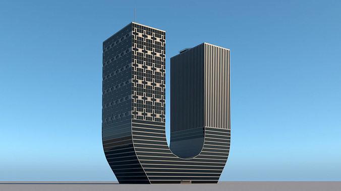 High-rise building skyscraper  letter U 3D model