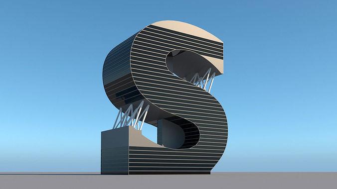 High-rise building skyscraper  letter S 3D model