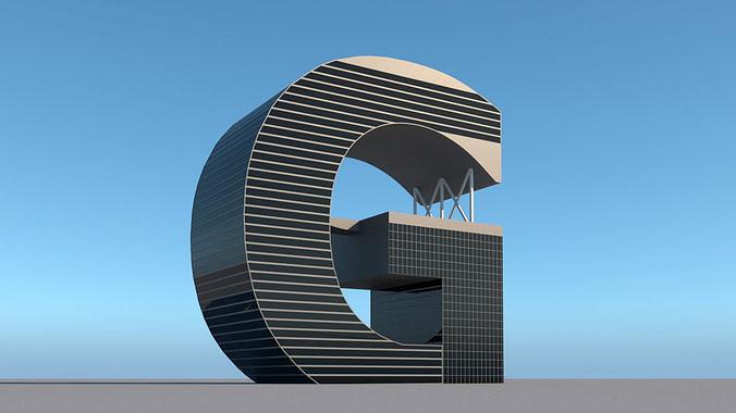 High-rise building skyscraper  letter G 3D model