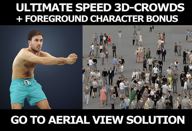3d crowds and Flow foreground beach volleyball man