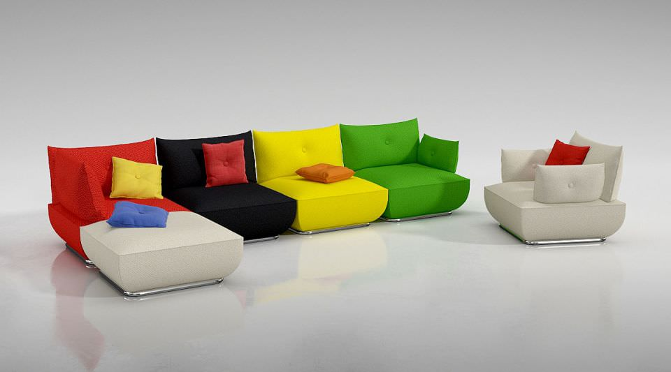 Modern Colorful Couch Model Obj Mtl 1