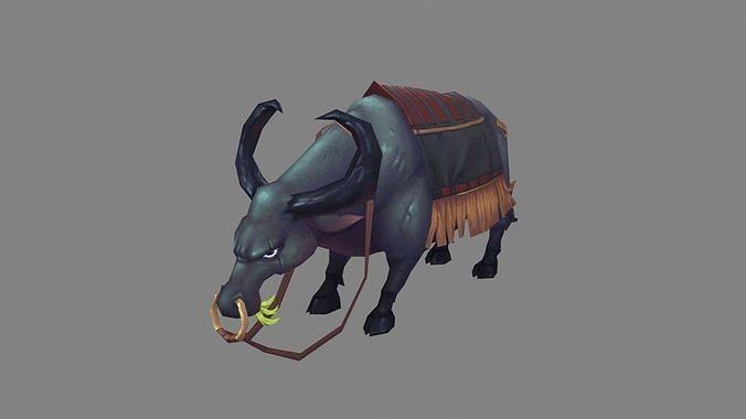Cartoon black buffalo