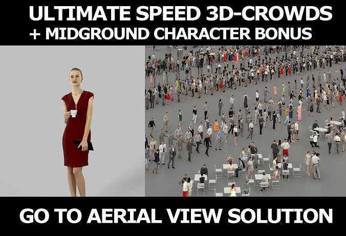 3d crowds and midground Beauty coffee cup elegant event woman